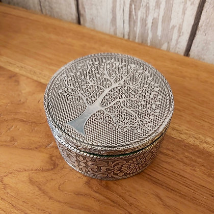 Silver Round Tree of Life Box