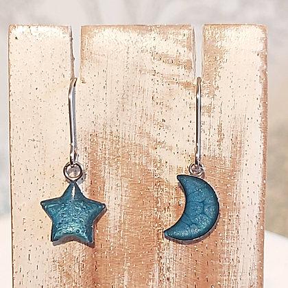 Star & Moon Drop Earrings - Sea Blue