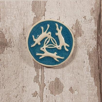 Ceramic Tiles - Three Hares Round
