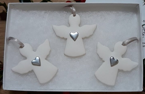 Silver Heart Angels Hanging Decorations - Set of 3