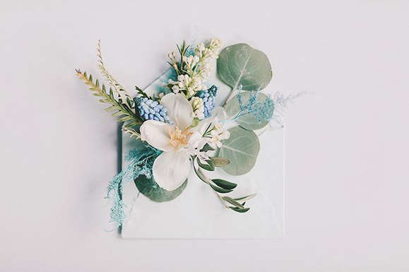 Handmade Envelope with touch of modern flowers