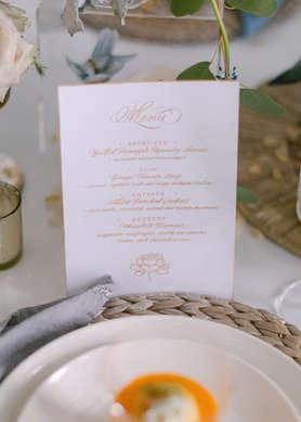 Wedding hand written menu