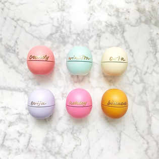 Personalized EOS lip balm with gold foil.