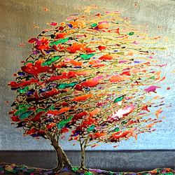 """Fire tree 36""""x36"""""""