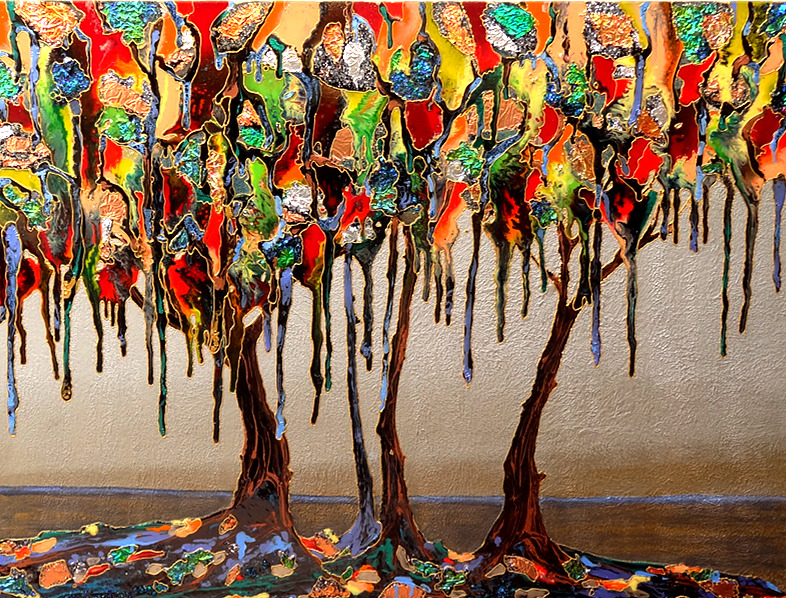 """Melted tree 48""""x36"""""""