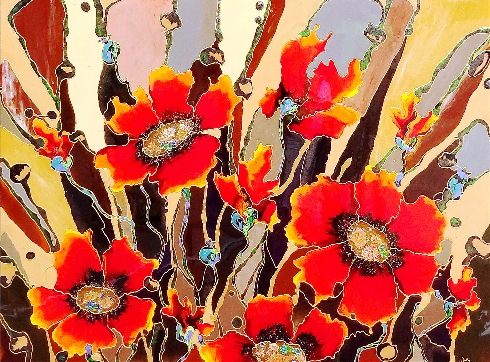 "Chocolate poppies Explosion 48""x""60"