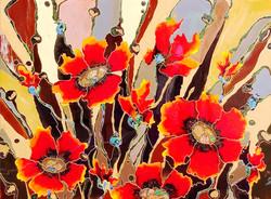 "Chocolate poppies Explosion 48""x""60"