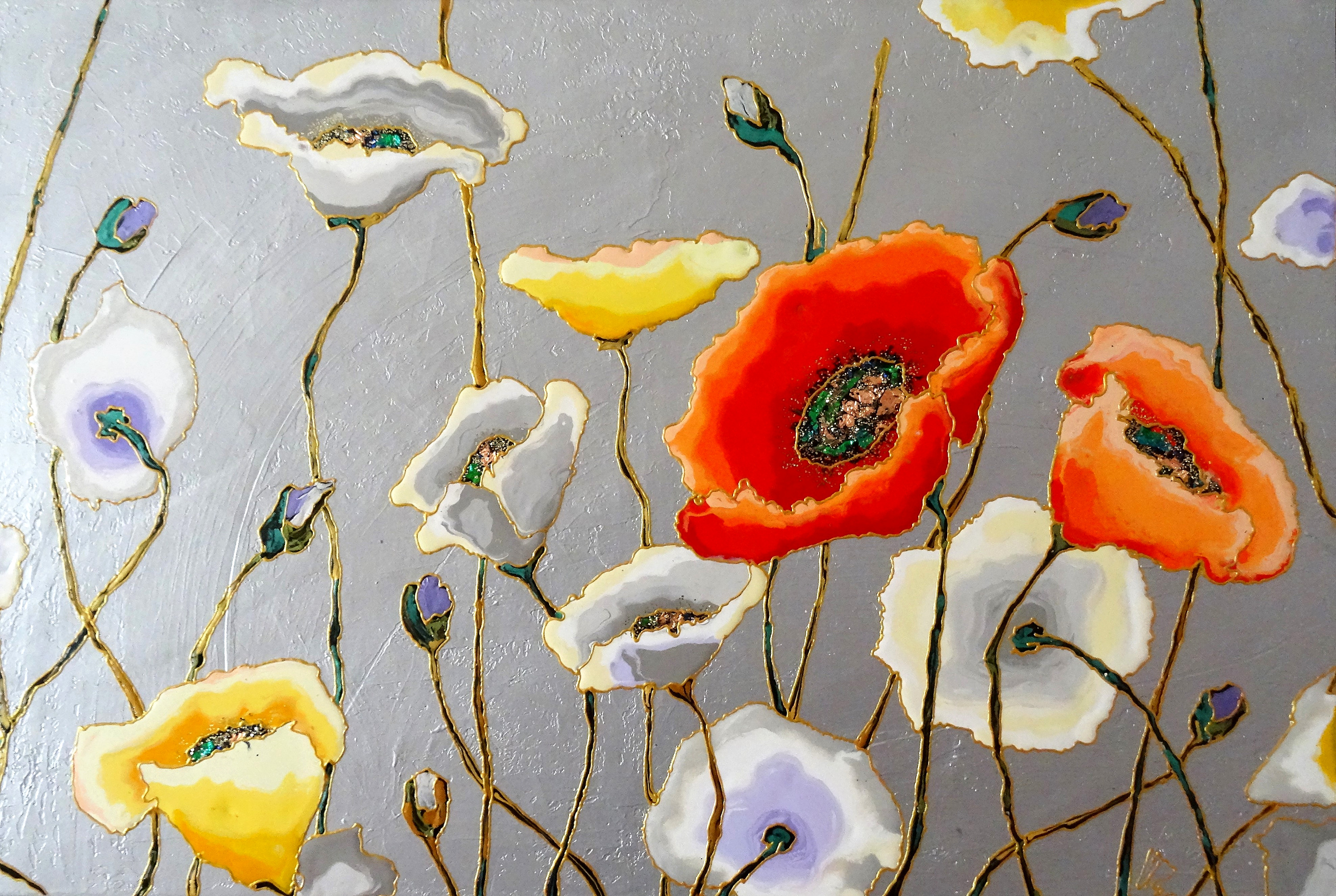 "Silver Poppies 24""x36"""