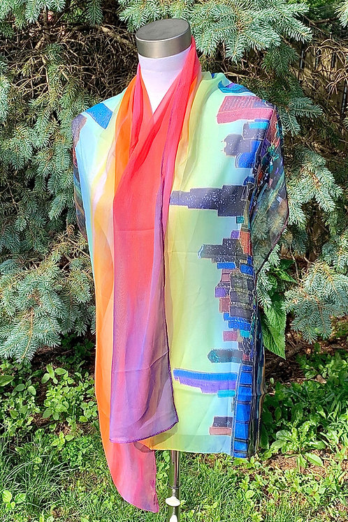 """""""Chicago skyline""""   silk scarf."""