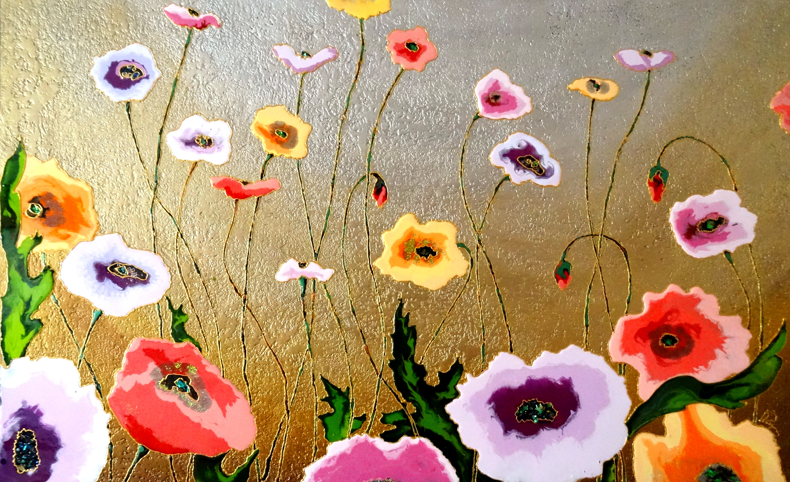 "Bronze Poppies 30""x40"""