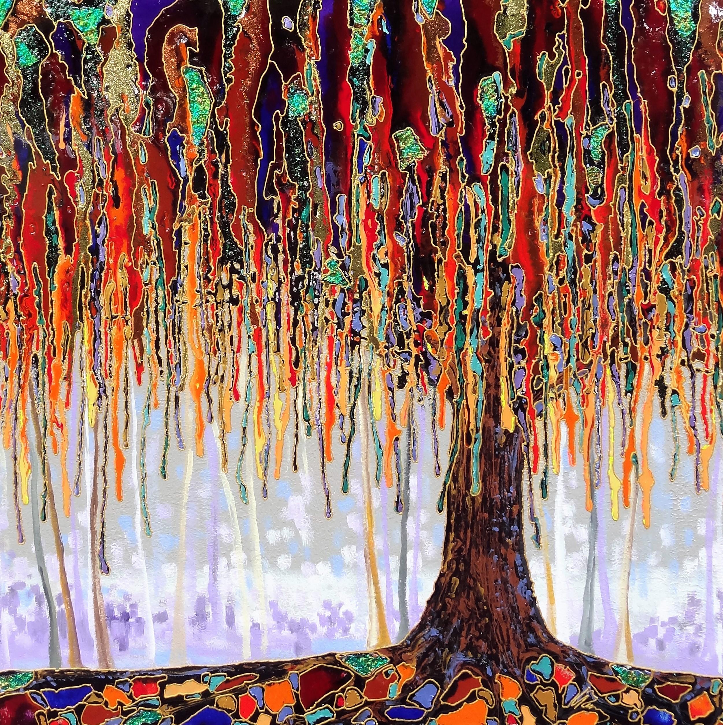 "Melting tree 36""x36"""
