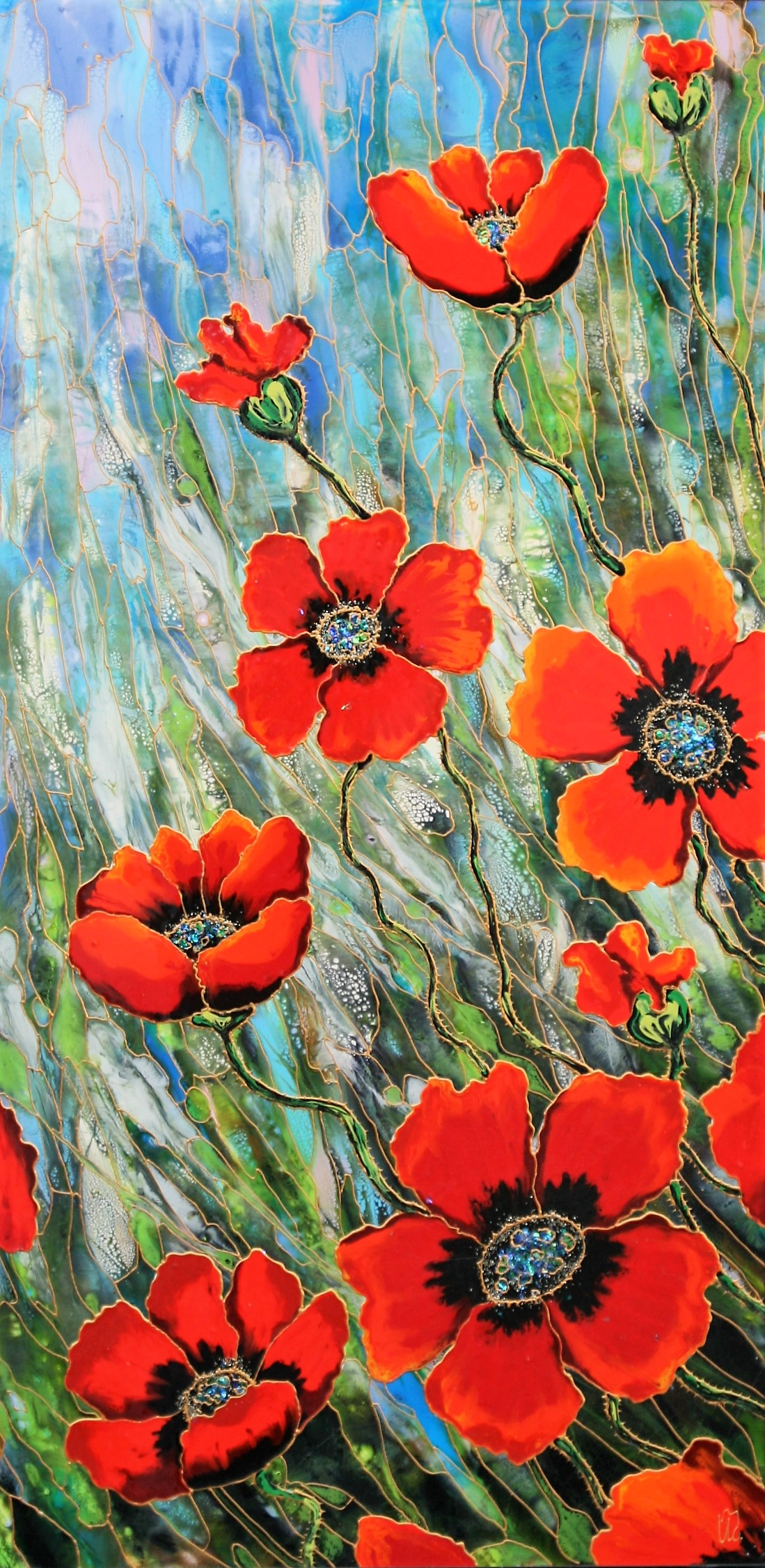 "Liquid Poppies 24""x48"""