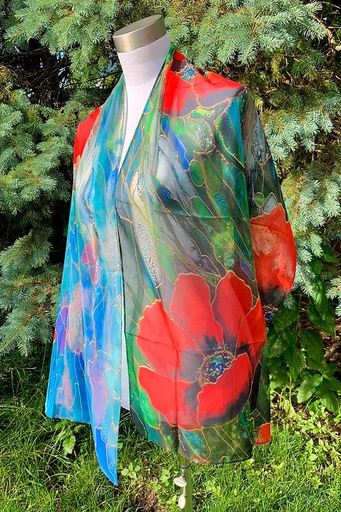 """Blue poppies""   silk scarf."