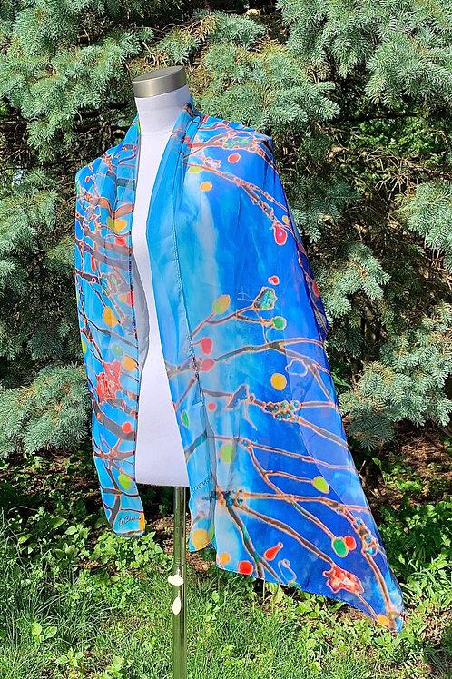 """""""Blue day""""   silk scarf."""