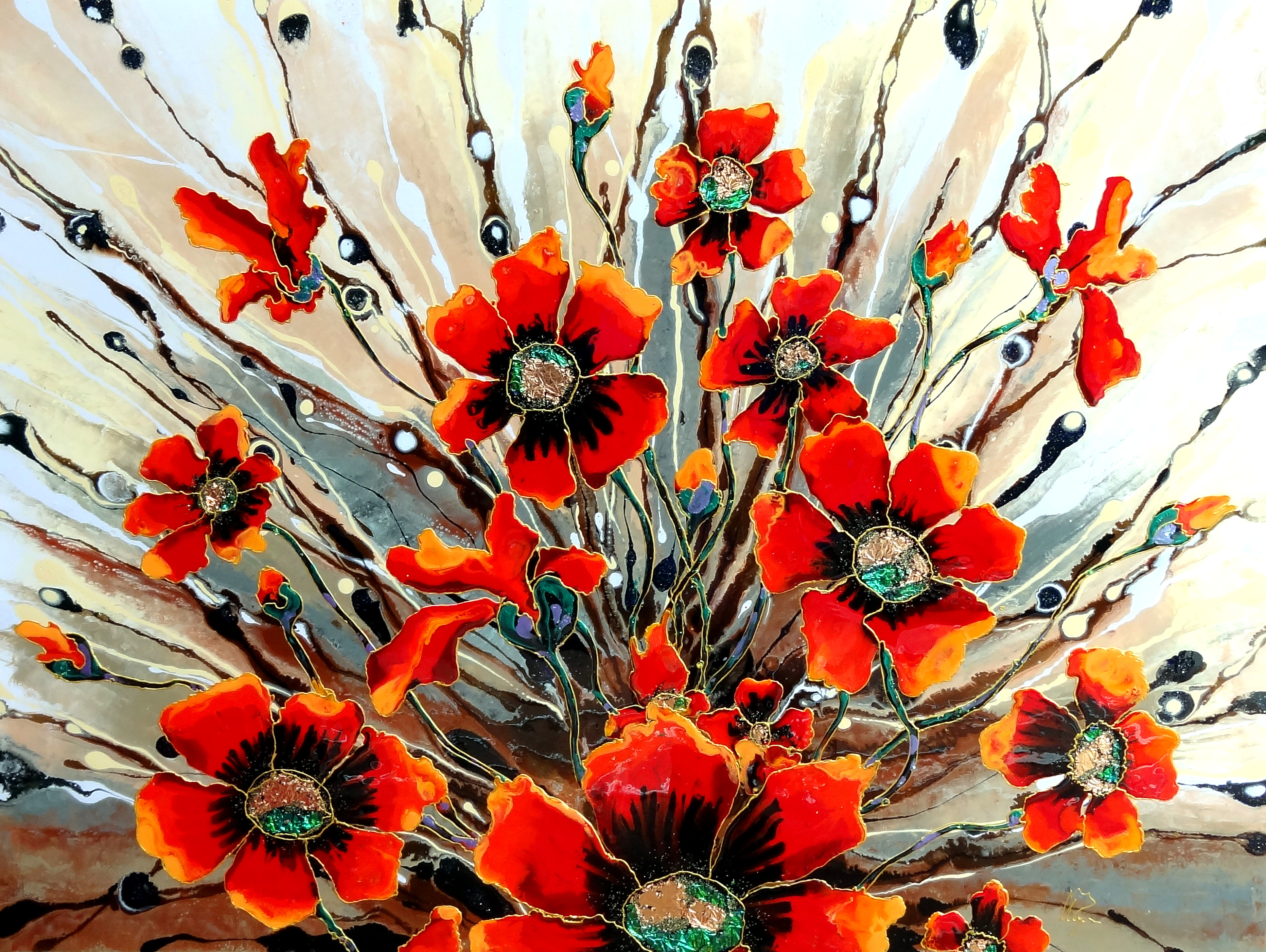"Chocolate Poppies Explosion 36""x48"""