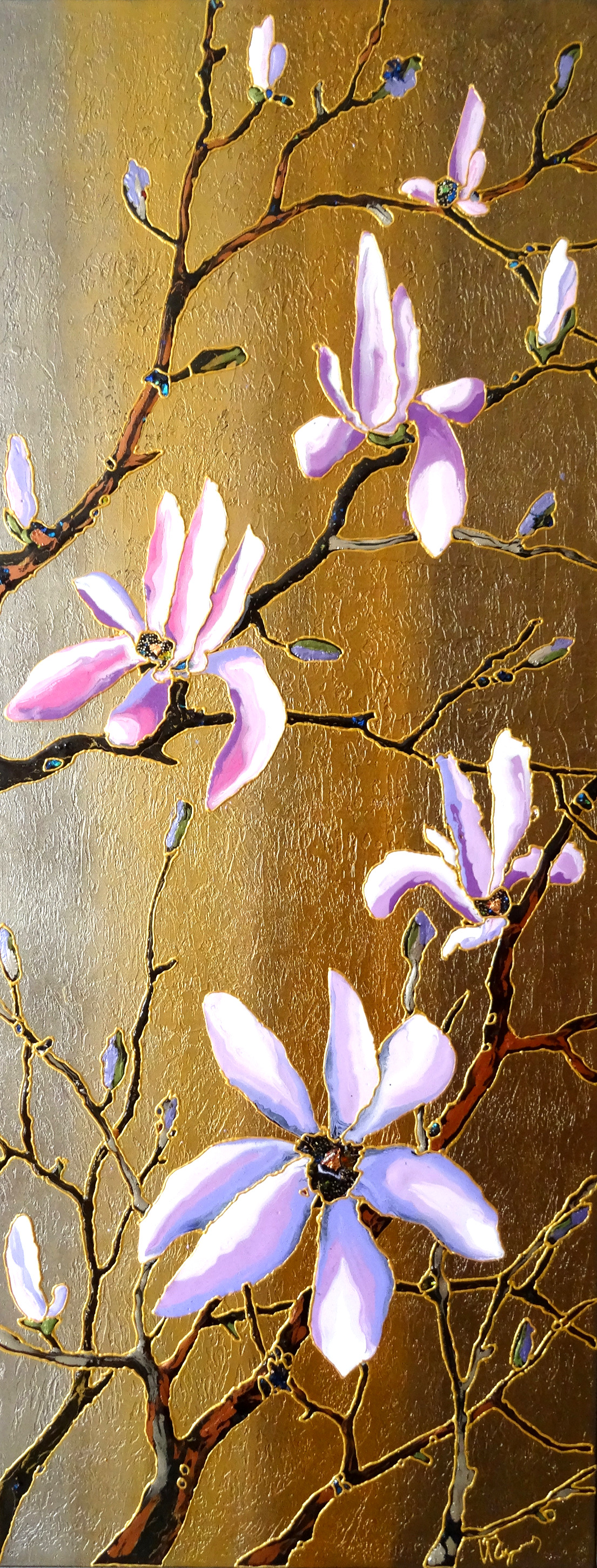 "Golden Magnolia 18""x40"""