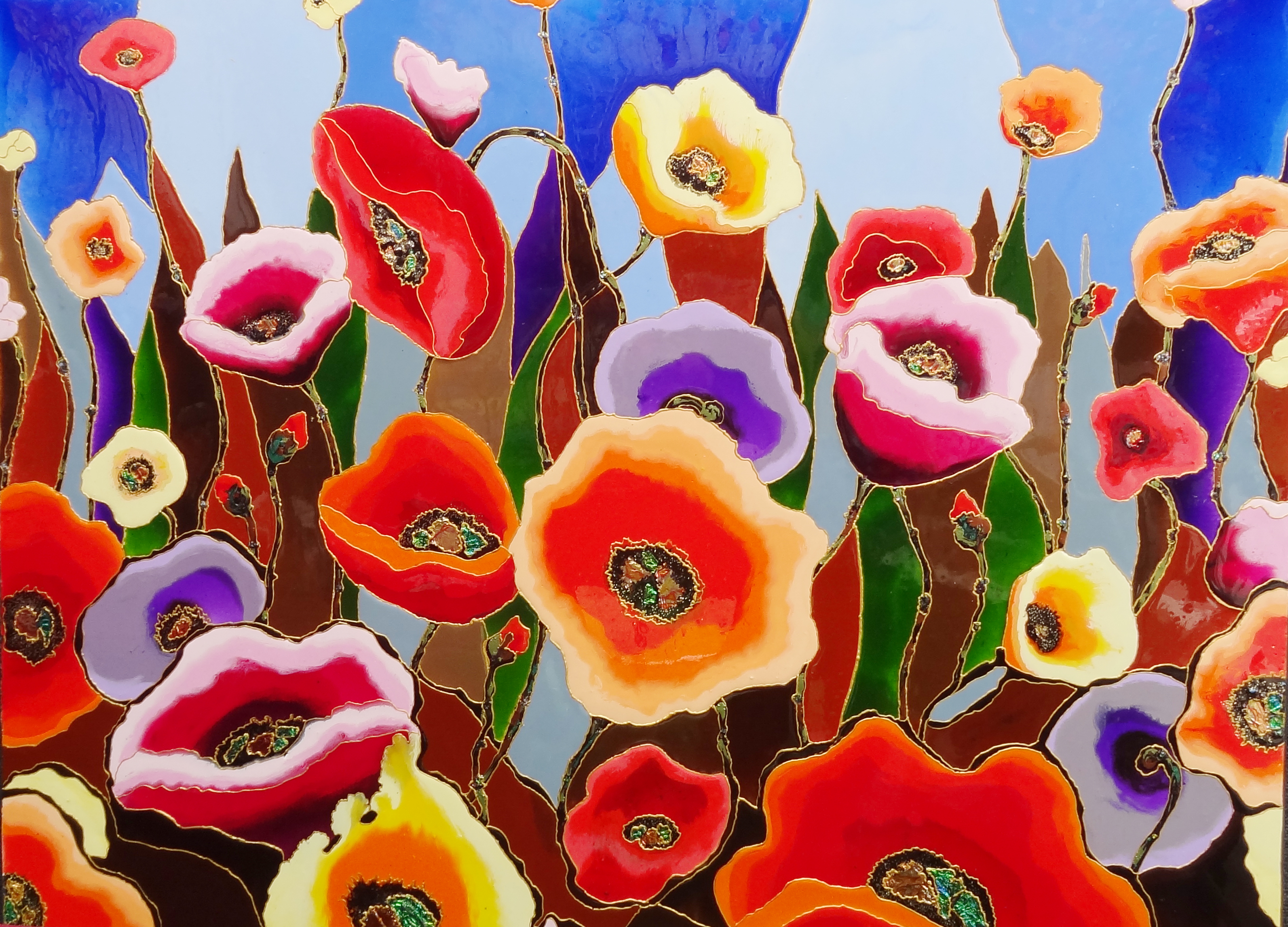 "Glass Poppies 36""x48"""