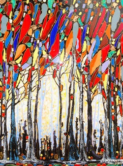 """Trees and People 36""""x48"""""""