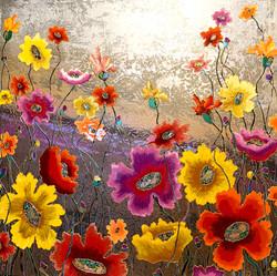 """Sun poppies 48""""x48"""""""