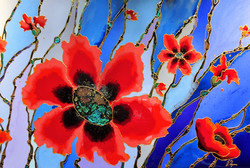 "Liquid Blue Poppies 24""x24"""
