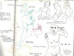 Skizzen Ausstellung Maria Lassnig