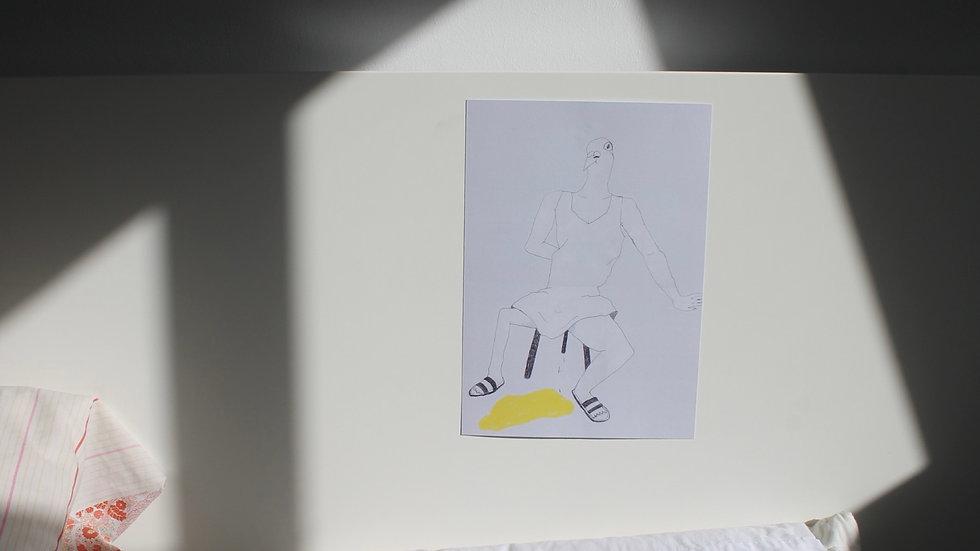 'Pissing Pigeon' A4 Art Print