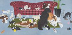 一〇八匹犬図-子-162.1×324.2郷さくら美術館蔵