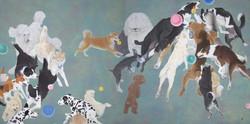 一〇八匹犬図-遊-162.1×324.2郷さくら美術館蔵