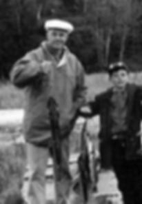 Donald Ian MacDonald and son Jake, Rosena Lake, Ontario, 1959