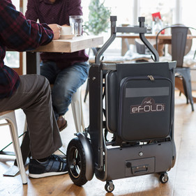 MULTIPLE USES eFOLDI folds into a convenient small wheeled suitcase.