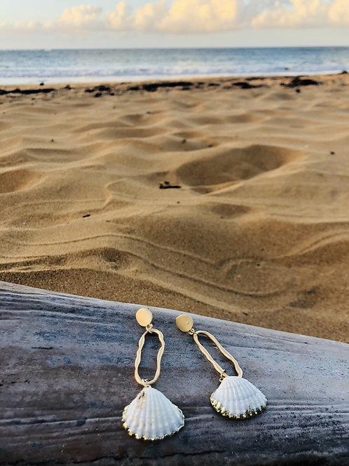 Farrah Shell  Gold Drop Earrings