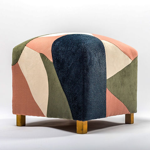 Patchi Upcycling poof design abstrait