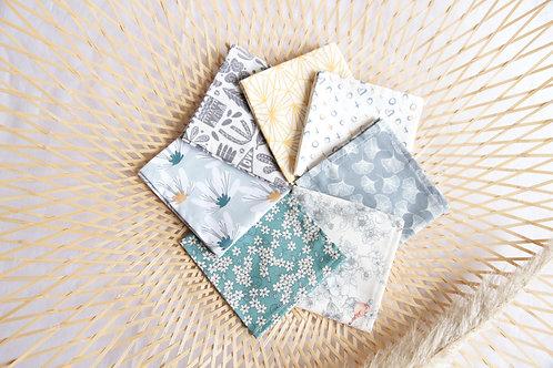 Semainier de mouchoirs (sept) en coton bio et/ou Oeko-tex