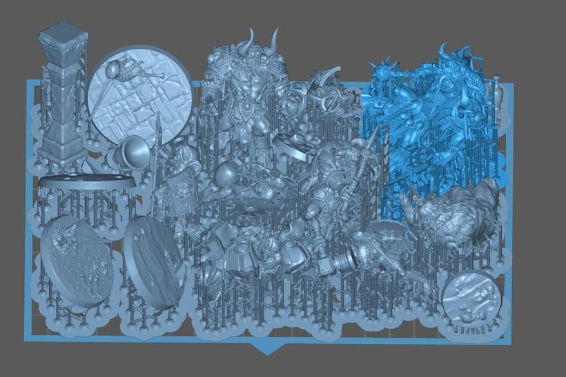 Placa de construção preenchida com um total de 9 personagens, 6 bases e 5 cenários, que foram impressos de uma vez.