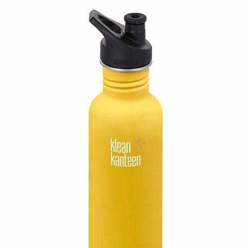 Klean Kanteen Classic 27oz (800ml) Bottle with Sports Cap, Lemon Curry