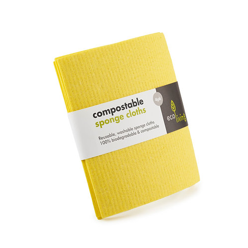 compostable cleaning cloth 4 pack, made in uk. zero waste bulk foods. plastic free. horsham. online