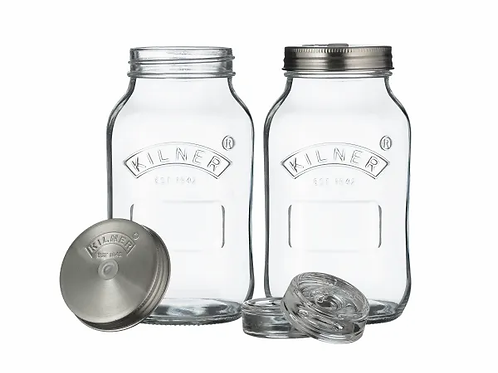 Set of 2 Kilner 1 litre Fermentation Jars. zero waste bulk foods. horsham. dorking. online