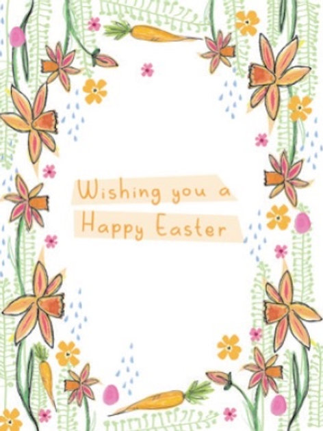 Happy Easter wildflower seeded card front, plastic free, zero waste bulk foods