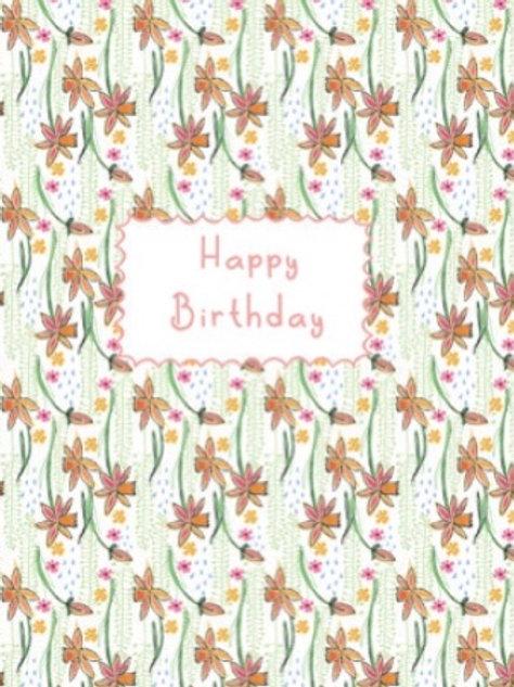 Happy Birthday (flowers) wildflower seeded card front, plastic free, zero waste bulk foods