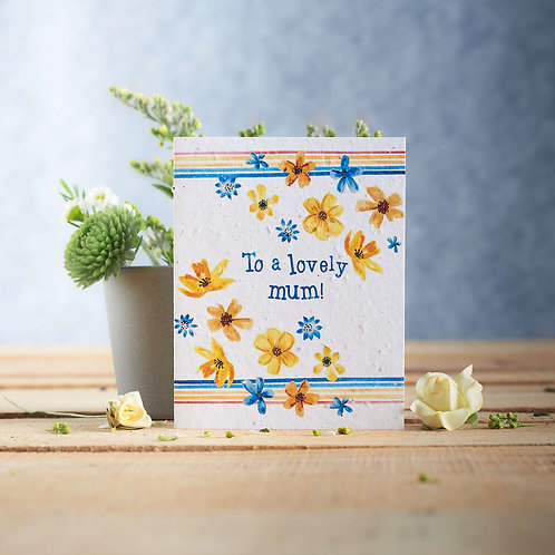 To a Lovely Mum wildflower seeded card front, plastic free, zero waste bulk foods