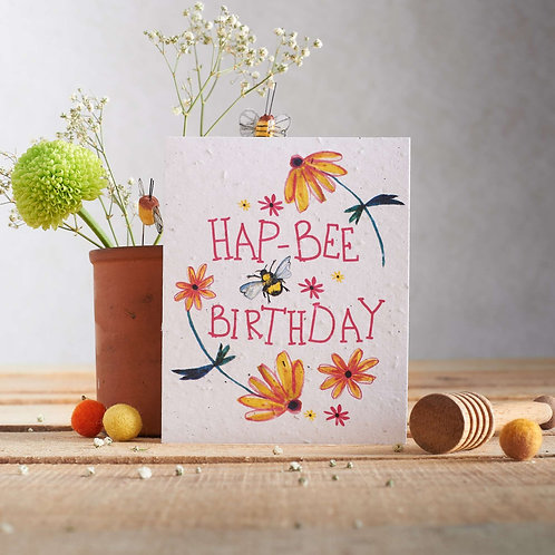 Hap-Bee birthday Wildflower Seed Card Front