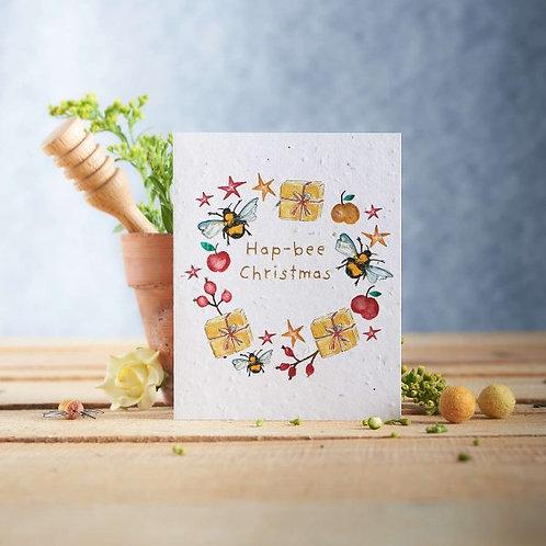 Hap-bee Christmas wildflower seeded card front, plastic free, zero waste bulk foods. horsham. sussex. dorking. surrey. online