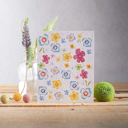 ?Funky flowers wildflower seeded card. zero waste bulk foods.plastic free. online. horsham. sussex