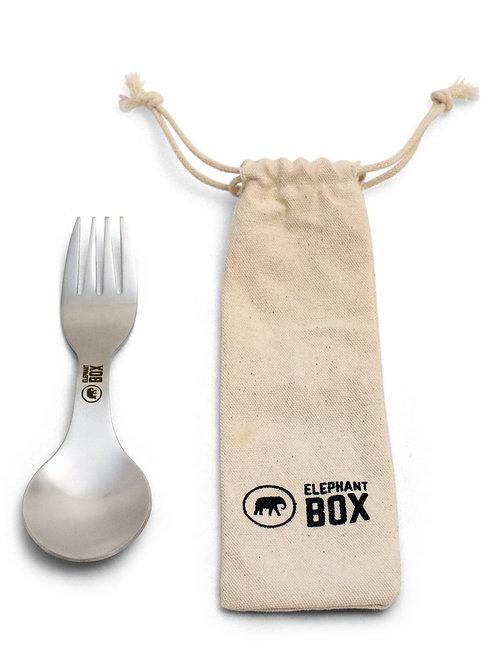 Stainless Steel Spork with bag. zero waste bulk foods. plastic free. online. horsham