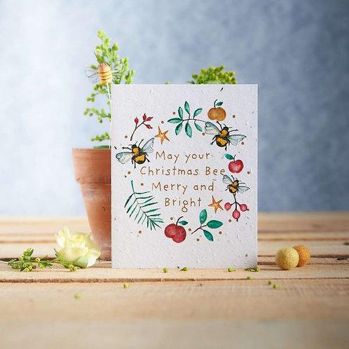 Christmas wildflower seeded card front, plastic free, zero waste bulk foods. horsham. sussex. dorking. surrey. online