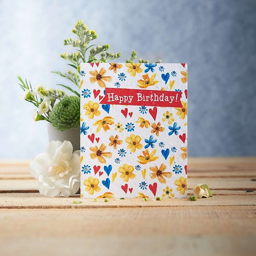 Happy Birthday wildflower seeded card front, plastic free, zero waste bulk foods