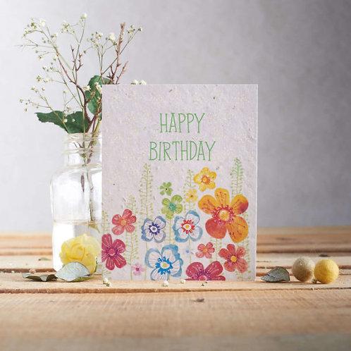 Happy Birthday wildflower seeded card front. zero waste bulk foods.plastic free. online. horsham. sussex
