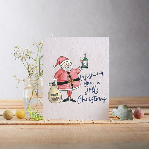 Wishing you a jolly Christmas wildflower seeded card front, plastic free, zero waste bulk foods. horsham. sussex