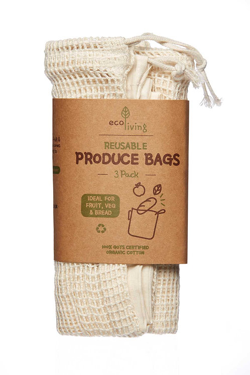 Organic Produce Bags & Bread Bag - 3 Pack