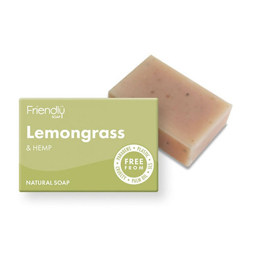 Friendly Soap Lemongrass & Hemp Soap. Plastic Free. Zero waste bulk foods. horsham. sussex. online. uk
